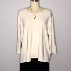 Sag Harbor 3X Cream Sweater Pearl Beaded Neckline